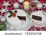 iced christmas cake and slice...