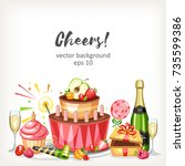 cooked festive food birthday... | Shutterstock .eps vector #735599386