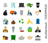 color icons garbage collection... | Shutterstock .eps vector #735599425