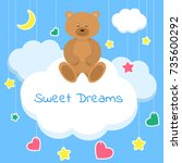 sweet dreams colorful vector... | Shutterstock .eps vector #735600292