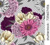 vector seamless pattern with... | Shutterstock .eps vector #735607456