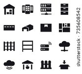 16 vector icon set   warehouse  ... | Shutterstock .eps vector #735608542