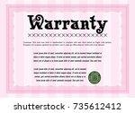 pink warranty certificate...   Shutterstock .eps vector #735612412