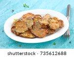 baked eggplant chips | Shutterstock . vector #735612688