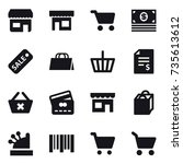16 vector icon set   shop  cart ... | Shutterstock .eps vector #735613612