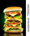 tasty hamburger and french... | Shutterstock . vector #73561966