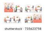 fast food restaurant set... | Shutterstock .eps vector #735623758