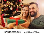group of friends giving... | Shutterstock . vector #735623962