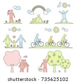 pictograms representing people... | Shutterstock .eps vector #735625102