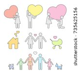 pictograms which represent... | Shutterstock .eps vector #735625156