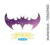 vector halloween abstract bat... | Shutterstock .eps vector #735625402