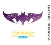 vector halloween abstract bat... | Shutterstock .eps vector #735625456