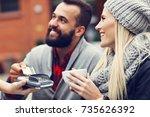 happy adult couple dating in...   Shutterstock . vector #735626392
