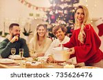 group of family and friends... | Shutterstock . vector #735626476