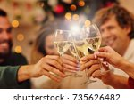group of friends celebrating... | Shutterstock . vector #735626482