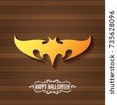 vector halloween golden bat... | Shutterstock .eps vector #735628096