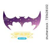 vector halloween abstract bat... | Shutterstock .eps vector #735628102
