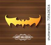 vector halloween golden bat... | Shutterstock .eps vector #735628216