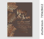autumn wedding invitation gold... | Shutterstock .eps vector #735628612