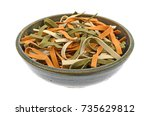 a stoneware bowl filled with... | Shutterstock . vector #735629812