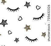 vector cute seamless pattern...   Shutterstock .eps vector #735632326