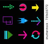 set of different arrows icons. | Shutterstock .eps vector #735633772