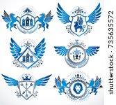 vintage decorative heraldic...   Shutterstock .eps vector #735635572