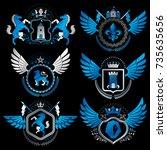 vector classy heraldic coat of... | Shutterstock .eps vector #735635656