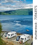 trailers on a lakeside | Shutterstock . vector #73563571