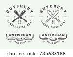 set of vintage butchery meat ... | Shutterstock .eps vector #735638188
