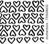 hand drawn pattern of hearts in ... | Shutterstock .eps vector #735638632