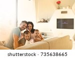 happy family sitting together  | Shutterstock . vector #735638665