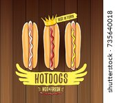 vector cartoon hotdogs label... | Shutterstock .eps vector #735640018