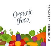 vegetables background. healthy... | Shutterstock .eps vector #735644782