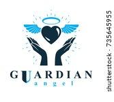loving heart in human hands ...   Shutterstock .eps vector #735645955