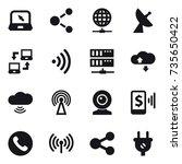 16 vector icon set   notebook ... | Shutterstock .eps vector #735650422