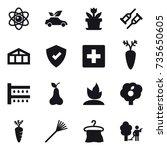 16 vector icon set   atom  eco... | Shutterstock .eps vector #735650605