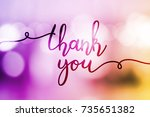 thank you  vector lettering on... | Shutterstock .eps vector #735651382