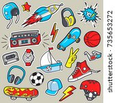 boy's stickers . vector patches ... | Shutterstock .eps vector #735653272