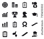 16 vector icon set   target ... | Shutterstock .eps vector #735653332