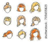 collection of women faces ... | Shutterstock .eps vector #735655825