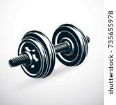 dumbbell vector illustration... | Shutterstock .eps vector #735655978