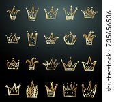 set of hand drawn doodle crowns.... | Shutterstock .eps vector #735656536