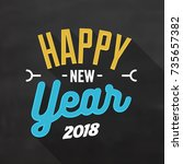 happy new year sign 2018 | Shutterstock .eps vector #735657382