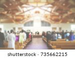 church congregation service... | Shutterstock . vector #735662215