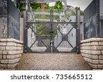 industrial power grid plant... | Shutterstock . vector #735665512