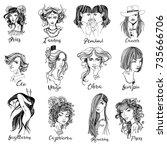hand drawn vector set of zodiac ... | Shutterstock .eps vector #735666706