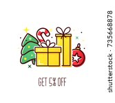 vector banner with gift boxes... | Shutterstock .eps vector #735668878