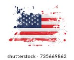 usa flag grunge painted... | Shutterstock . vector #735669862
