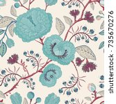 seamless pattern with stylized... | Shutterstock . vector #735670276